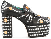 Gucci crystal studded platform loafer pumps