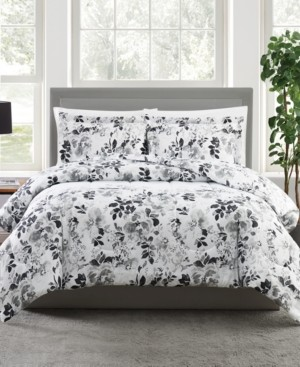 Pem America Black and White 3-Pc. Floral-Print Full/Queen Comforter Set, a Macy's Exclusive Style Bedding