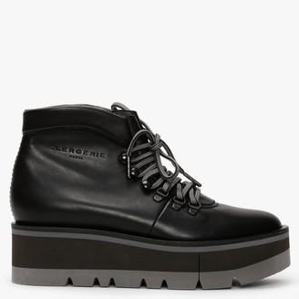 Clergerie Bubble Black Leather Platform Walking Boots