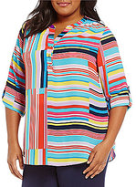 Investments Plus Y-Neck 3/4 Roll-Tab Sleeve Hi-Low Hem Striped Blouse