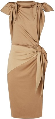 Burberry Tie Detail Tri-tone Silk Jersey Dress