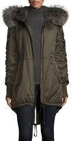 Derek Lam 10 Crosby Fur-Trimmed Hooded High-Low Hem Parka, Loden