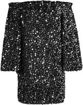 Rotate ROTATE Gloria Off-The-Shoulder Sequined Chiffon Mini Dress
