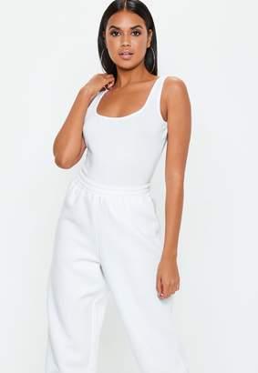 Missguided Petite White Square Neck Cotton Jersey Bodysuit