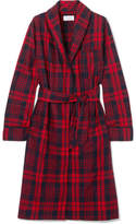 Three J NYC Holiday Checked Cotton-flannel Robe - Red