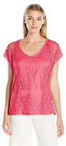 Notations Women's Allover Over Crochet Lace V Neck Top with Dtm Tank