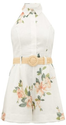 Zimmermann Kirra Halterneck Floral-print Linen Playsuit - Womens - White Print