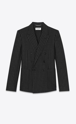 Saint Laurent Blazer Jacket Double-breasted Tailored Jacket In Lame Tennis Striped Wool Black 34