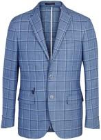 Corneliani Blue Checked Jacquard Blazer