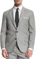 Brunello Cucinelli Rustic Solid Two-Piece Wool Suit, Light Gray