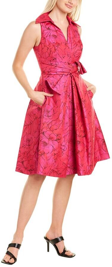 Theia Jacquard A-Line Dress