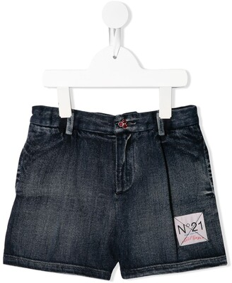 No21 Kids Logo Patch Denim Shorts