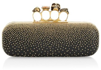Alexander McQueen Skull Four-Ring Beaded Leather Long Box Clutch