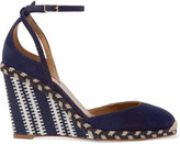Aquazzura Cape Town Suede And Canvas Wedge Espadrilles - Navy
