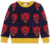 Gucci Children's tiger jacquard wool knit sweater