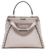 Fendi Medium Peekaboo Whipstitched Calfskin Leather Satchel - Grey