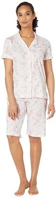 Lauren Ralph Lauren Cotton Rayon Jersey Knit Short Sleeve Dolman Notch Collar Bermuda Pajama Set (Pink Floral) Women's Pajama Sets