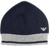 Armani Junior Cotton & Wool Blend Knit Beanie Hat
