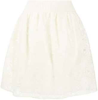 Alberta Ferretti High-Waisted Floral Knit Skirt