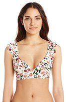 Jessica Simpson Women's Garden Party Floral High Neck Bikini Top