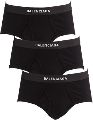 Balenciaga Men's 3-Pack Ribbed Logo Briefs