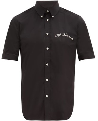 Alexander McQueen Brad Pitt Script-embroidered Cotton-blend Shirt - Black