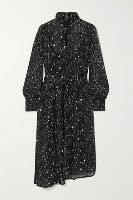 Officine Generale Solange Asymmetric Metallic Printed Plisse-chiffon Dress - Black