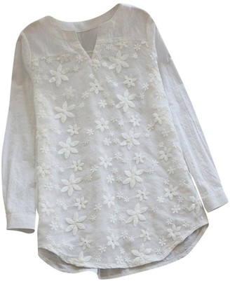 Bovake Blouse Bovake Womens Long Sleeve Linen Solid V-Neck Floral Lace Embroidery Casual Loose Tops Blouse Shirt Plus Size UK8~26 (2XL=UK:24~26
