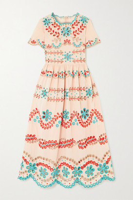 RED Valentino Broderie Anglaise Cotton Midi Dress - Blush
