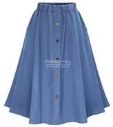 ACE SHOCK Women's A-line Elastic Waist Relaxed Denim Jeans Long Skirts Plus Size
