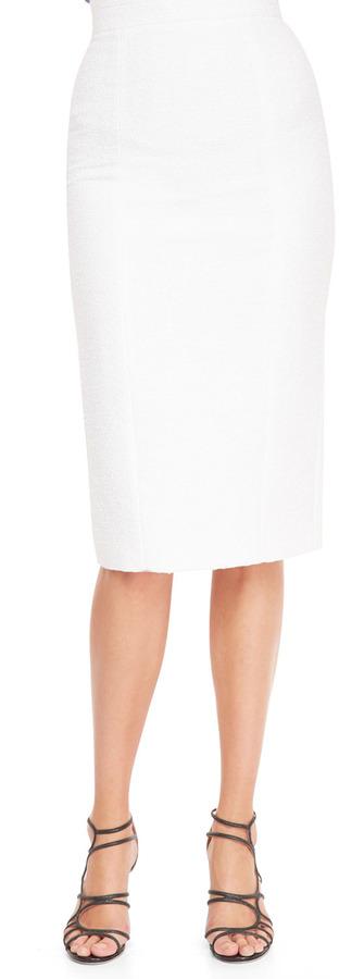 L'Wren Scott High-Waist Back-Slit Pencil Skirt, White