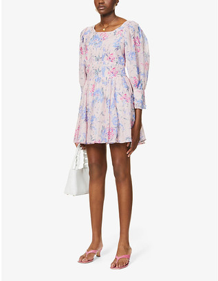 LoveShackFancy Ross floral-print cotton and silk-blend mini dress