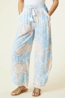 Surf.Gypsy Watercolor Printed Crochet Pant Blue M