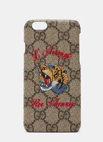 Gucci Women's GG Supreme Print L'Aveugle Par Amour iPhone 6 Case in Brown