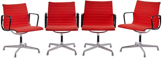 Rejuvenation Set of 4 Eames Aluminum Group Chairs w/ Original Upholstery