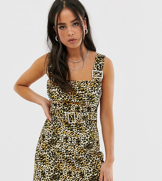 Wild Honey pinnafore dress with buckles in leopard