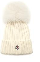 Moncler Fur pompom-embellished wool beanie hat
