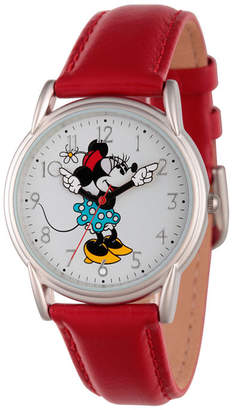 Character Disney Womens Red And Silver Tone Cardiff Alloy Minnie Mouse Strap Watch W002768