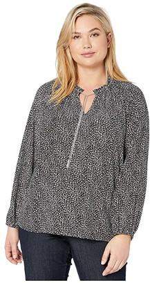 MICHAEL Michael Kors Size Baby Cat Blouson Chain Top (Black/Bone) Women's Clothing