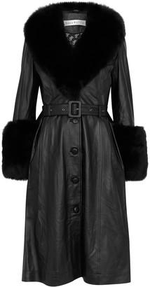 Saks Potts Foxy Black Fur-trimmed Leather Coat