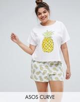 Asos Pineapple T-Shirt & Shorts Pajama Set