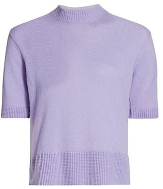 Piazza Sempione Short-Sleeve Cashmere Mockneck Sweater