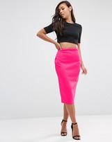 Asos High Waisted Pencil Skirt In Scuba