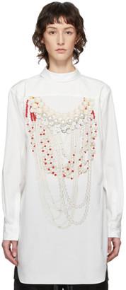 Comme des Garçons Homme Plus White Pearl Print Shirt Dress