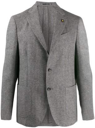 Lardini check fitted jacket
