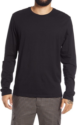Topman Cotton Crewneck Long Sleeve T-Shirt