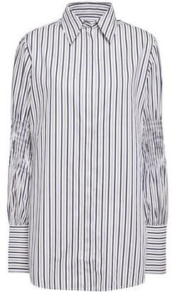 Victoria Victoria Beckham Shirred Striped Cotton-poplin Shirt