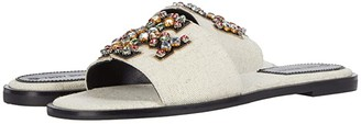 Tory Burch Ines Embellished Slide (Natural/Perfect Black/Gold) Women's Shoes