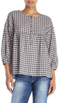 Max Studio Petite Oversize Plaid Top