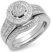 DazzlingRock Collection 0.45 Carat (ctw) Sterling Silver Round White Diamond Ladies Bridal Engagement Ring Set (Size 10)